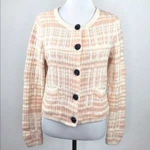 Knitted & Knotted Anthro Pink White Cardigan Sz M